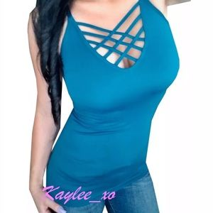 cba7211f01dae Tops - Plus Size Teal Criss Cross Caged Cami Tank Top